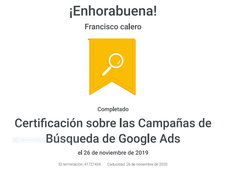 certificación búsqueda google ads